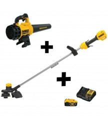 DEWALT Cordless Straight Shaft Weed Trimmer Leaf Blower Combo Battery Charger