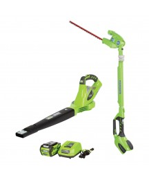 Greenworks 40 Volt Battery Powered Cordless Hedge Trimmer and Leaf Blower Combo